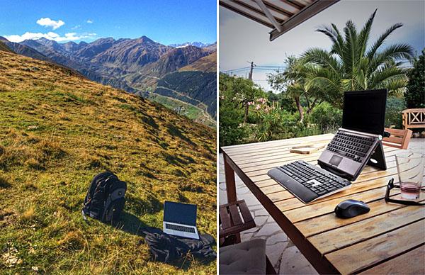 Mobile Office heisst manchmal auch Open Air Office (Arbeiten auf der Alp Tgom bei Sedrun und in der Provence)